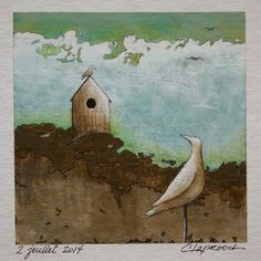 Original art, 6 x 6 inches, bird painting, couple of birds, bird picture, bird wall art, birdhouse, nesting box, bird house, with 11x14 mat