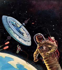 retro_futurism: 'Islas En El Cielo', the Spanish cover for Arthur C. Clarke's 'Islands in the Sky' 1957