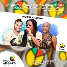 Garanta o seu ingresso para o Aniversário do Olodum! Disponíveis nas lojas do Shopping da Bahia e Casa do Olodum!    #PlanetaOlodum #BandaOlodum #Olodum