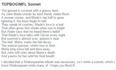 Fellow Blades, WE OFFICIALLY HAVE A SHAKESPEREAN SONNET! Such a great day for our fandom :') all credit to blade-of-grass.tumblr.com