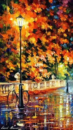 Bicycle Wall Art Alley Painting On Canvas By Leonid Afremov - Lonely Bicycle. Size: X Inches cm x 90 cm) - painting Bicycle Painting, Bicycle Art, Bicycle Design, Knife Painting, Oil Painting On Canvas, Painting Art, Painting Clouds, Autumn Painting, Faux Painting