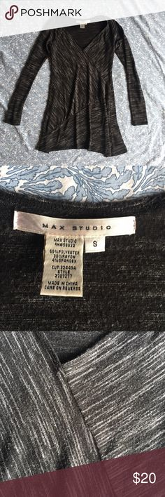 Max Studio stripe faux wrap v neck tunic top Worn but in good condition. Very soft. Flattering fit. Max Studio Tops Tunics