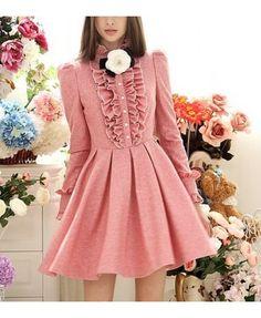 Victorian pink ruffle long sleeved dress