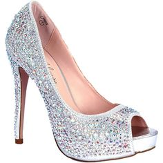 Lauren Lorraine Women's Candy Pumps ($150) ❤ liked on Polyvore featuring shoes, pumps, heels, high heels, zapatos, silver candy, high heel pumps, glitter platform pumps, sexy high heel shoes and peep-toe pumps