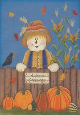 Autumn Greetings Scarecrow Mini Small Garden Fall Flag Pumpkins Leaves Corn Crow