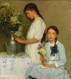 Francis Luis Mora  (Spanish American artist, 1874-1940).   Flowers of the Field 1913.