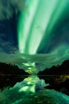 Dual Aurora highway above Ersfjorden, nothern Norway., via Flickr.