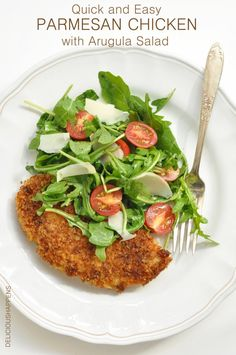 from The Harvest Kitchen / this quick and easy Parmesan Chicken with Arugula Salad is a healthier take on parmesan chicken and it's always a favorite of my family! @theharvestkitchen.com