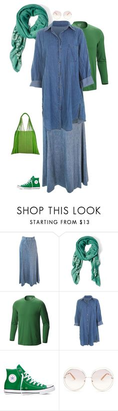 """Outfit 506"" by chicagomuslima ❤ liked on Polyvore featuring RQ, Mountain Hardwear, Converse, Chloé, NOVICA, denim, converse, modeststyle, maxistyle and outfitsfortravel"