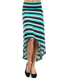 Blue & Black Stripe Hi-Low Skirt by Pretty Young Thing #zulily #zulilyfinds