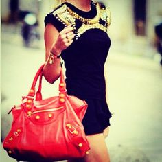 * Red Accents, Balenciaga City Bag, Shoulder Bag, Handbags, Purses, My Style, Cute, Party Outfits, Beauty