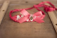Newborn Tieback Dark Pink Bow Tieback Pink Baby by bluestonesky