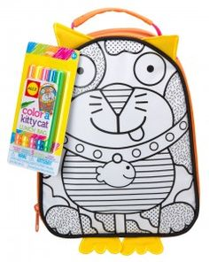 Design and color your own lunch pack with 5 brightly colored permanent markers included.
