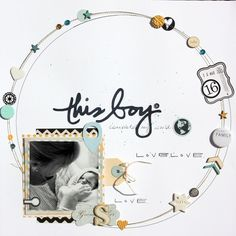 #papercraft #scrapbook #layout  circular background layout - great use of white space