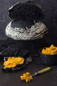 black bread and roasted carrot hummus