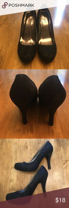 Maurices Black Lace Heels Black heels with lace overlay. Only worn a few times. Maurices Shoes Heels