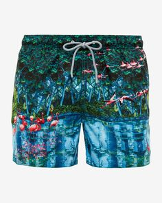 Flamingo print swim shorts  - Green | Swimwear | Ted Baker UK