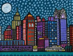 Detroit Skyline Art Art Print Poster by Heather Galler Michigan Cityscape Modern Abstract Folk Art (HG142)