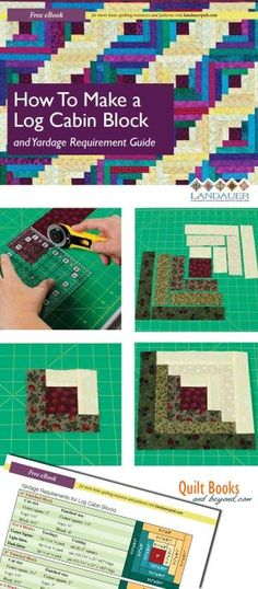 Log Cabin Quilt Block Guide Shows How To Make the Log Cabin Block PLUS Yardage Guidelines Chart - Quilt Books & Beyond by misty