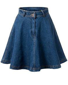 RZIV denim skirt 2017 summer women skater skirt and high waist skirts womens Denim Skirt Outfits, High Waisted Denim Skirt, Blue Denim Skirt, High Waist Jeans, Denim Dresses, Waist Skirt, Textiles Y Moda, Jeans Rock, Denim Flares