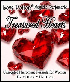 Love Potion®: Treasured Hearts ~ UNscented Pheromone Blend for Women - 1/3 Fl.oz. (10ml). An attraction blend for women that creates a loving atmosphere, encourages deep bonding and soothes irritability. 1/3 fl. oz. Concentrated UNscented Pheromones in an oil base. 1,000 mcg per bottle. FREE FIRST CLASS SHIPPING to USA! Packaged in a lovely organza pouch, ready for gift giving! Free samples with every order!. Love Potion® Fragrances: The Original Magickal Perfumerie! Trusted and Respected...