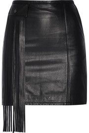 Tamara Mellon Fringed leather mini skirt