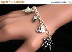 HALLOWEEN SALE Three Blind Mice Bracelet.  Animal Lover Charm Bracelet. Mouse Bracelet. Animal Bracelet. Silver Bracelet. Handmade Jewelry. by GatheringCharms from Gathering Charms by Gilliauna. Find it now at http://ift.tt/2et3M2c!