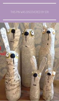Funny Easter decoration Bunnies Newsprint Paper mache – # Bunny decoration # Paper mache # Funny paper - All About Paper Mache Sculpture, Diy Ostern, Recycled Art, Spring Crafts, Easter Crafts, Bunny Crafts, Diy For Kids, Art Dolls, Paper Crafting