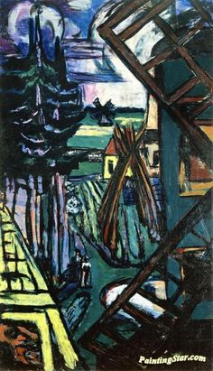 Landscape with Windmill Artwork by Max Beckmann Hand-painted and Art Prints on canvas for sale,you can custom the size and frame