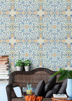 This spectacular Spanish Tile Wallpaper by designer MINDTHEGAP features a traditional Andalusian geometric motif in blue and orange. Get a new fresh feeling on your walls.