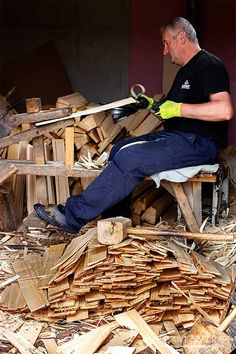 Man from North Romania, Maramureș hand crafting wooden shakes for roof covering. #roof #shakes