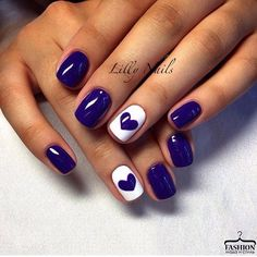Beautiful winter nails Contrast nails Dating nails Heart nail designs Hearts on nails Medium nails Perfect nails ring finger nails Heart Nail Designs, Valentine's Day Nail Designs, Best Nail Art Designs, Simple Nail Designs, Nails Design, Pretty Designs, Nail Designs With Hearts, Nail Designs Spring, Navy Blue Nails