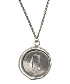 Letter C Wax Seal Initial Necklace - so pretty