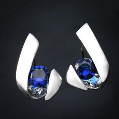 BLUE ZIRCON PUSH BACK EARING-ACCESSORIES-modefame $11.97