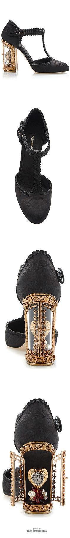 Dolce & Gabbana Black Jacquard T-Strap Mary Jane With Window Pane Pump ♔ SS 2015 ♔ Tres Haute Diva