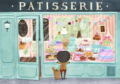 Patisserie in Paris! Love dessert! Travel Illustration by Lon Lee