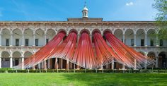 nstallation view of MAD architect's 'invisible border' suspended from the loggia of the cortile d'onore, Milan 2016