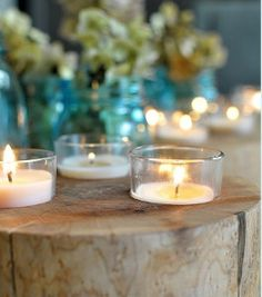A very simple but elegant center piece, using Goodwill glasses and a candle! Find the perfect centerpieces for your wedding at your local Goodwill today: www.goodwillvalleys.com/shop
