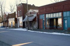 Downtown Pamplin City, VA mostly abandoned and in decline