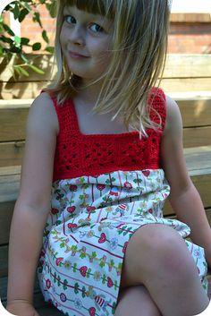 Crochet yoke for girls' dress.  Free pattern.