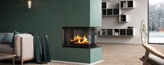 3 Sided Wood Burning Fireplace for the Modern Home - RAIS Visio Corner Stone Fireplace, Inset Fireplace, Fireplace Inserts, Modern Fireplace, Living Room With Fireplace, Living Room Grey, Fireplace Design, Living Room Decor, 3 Sided Fireplace