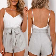 Chiffon Strap Sexy Backless Romper Jumpsuit