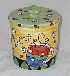 Unique Hand-painted Le Cafe Coffee Canister
