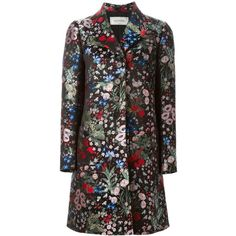 Valentino 'Camugarden' coat ($8,370) ❤ liked on Polyvore featuring outerwear, coats, black, floral coat, floral print coat, multi colored coat, silk coat and colorful coat