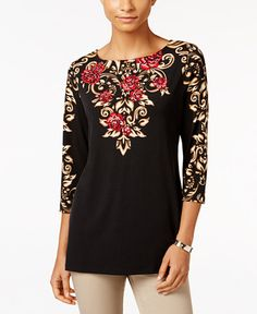 JM Collection Embellished Boat-Neck Top, Only at Macy's