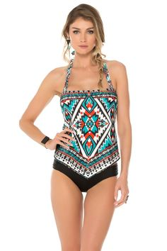 Becca by Rebecca Virtue's Aztec Halter Tankini Top | Everything But Water