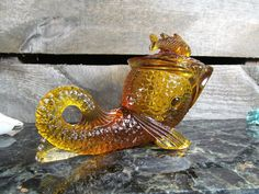 Kemple Glass, Dolphin Mustard Dish with Lid, Amber, Relish, Condiments or Storge, Vintage Dinning & Serving Glass Art, Rustic, Urban, Decor by TheStorageChest on Etsy