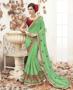 Buy Ideal Lime & Maroon Designer Sarees online at  https://www.a1designerwear.com/ideal-lime-maroon-designer-sarees  Price: $43.04 USD