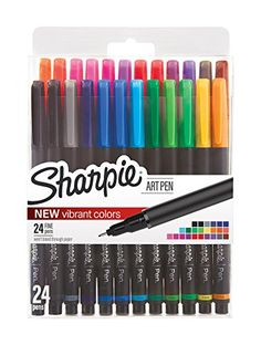 Buy Sharpie Art Pens, Fine Point, Assorted Colors, 24 Count at Off Arte Sharpie, Sharpie Pens, Sharpies, Sharpie Artwork, Sharpie Doodles, Sharpie Colors, Fine Point Pens, Cool School Supplies, Marker Pen