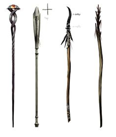 Concept art for staves Larp, Wizard Staff, Maleficarum, Dragon Age Inquisition, Weapon Concept Art, Fantasy Weapons, Medieval Fantasy, Dungeons And Dragons, Fantasy Art